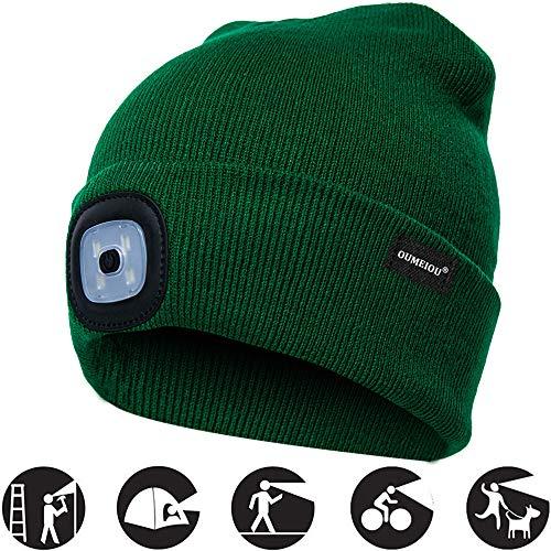 OMOUP Camping Outdoor LED Kappe 4 LED Hut USB aufladbare Caps für Männer Frauen warme Strickmütze LED Cap Licht mit 3 Helligkeitslevel Scheinwerfer Cap für Walking, Camping, Jogging, Angeln(Grün)
