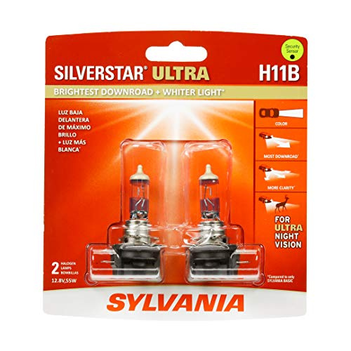 SYLVANIA - H11B SilverStar Ultra - High Performance Halogen Headlight Bulb, High Beam,Brightest Downroad with Whiter Light, Tri-Band Technology (Contains 2 Bulbs)