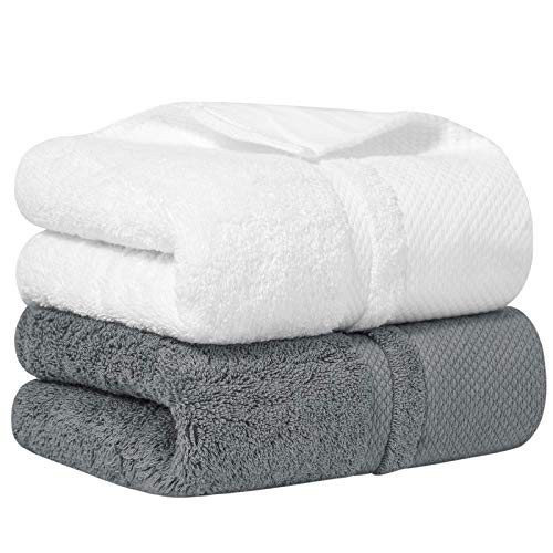 E ENASUE Cotton Hand Towels, Set of 2, Highly Absorbent and Super Soft Hand Towel for Bathroom, 14 x 30 Inches (White, Grey, 240.00)