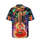 OutTop Men's Graphic Tees Guitar Soul Turn Down Collar Button Short Sleeve Shirts Fashion Printed T Shirt Clubwear Tops (Orange, M)