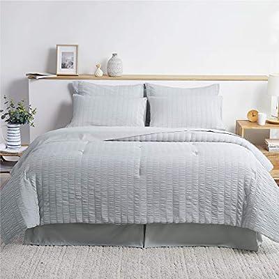 Bedsure Bed in A Bag Twin Comforter Set 6 Pieces, Soft Microfiber Seersucker Bedding Set (1 Pillowcase, 1 Pillow Sham, 1 Comforter, 1 Flat Sheet, 1 Fitted Sheet, 1 Bed Skirt), Light Grey