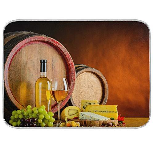 Oarenol Abtropfmatte für Weißweingläser, Weintrauben, Käse, Holzfass, saugfähig, 40,6 x 45,7 cm