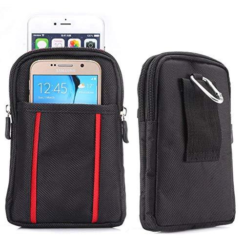 jbTec Gürteltasche Handy Tasche Nylon 175x110x30mm - Karabiner Handytasche Gürtel Herren Smartphone Holster Bag Handygürteltasche Outdoor Belt, Farbe:Schwarz