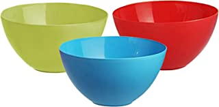 Heart Home Plastic Microwave Safe 3 Pieces Mixing Bowl Set- 1000 ML (Multi) - CTHH16450