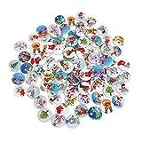 Healifty 100pcs Botones de artesanía de Madera Botones de Navidad de Dibujos Animados Botones de Costura de 2 Agujeros para Manualidades de Costura Surtido de álbumes de Recortes de Colores