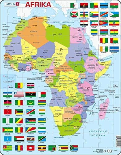 Larsen K13 Mapa político de África, edición en Holandés, Puzzle de Marco con 70 Piezas