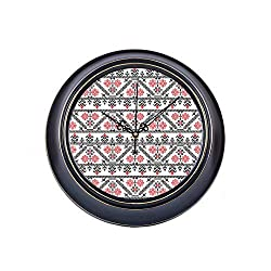 WUwuWU 14 Inch Large Silent Non Ticking Wall Clock Seamless Pattern Design Inspired by Romanian Printing Round Metal Clock Wall Decor Quality Quartz Battery Operated Quiet Clock for Home School