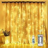 Tenda Luminosa - OMERIL Tenda di Luci 3x3M 300LED con Telecomando, 8 Modalità 【TIMER】e Impermeabile a IP65, Alimentata da USB per Decorare Camera da Letto, Finestra, Feste di Natale e Compleanno