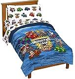 trucks toddler bed - Monster Jam Truckin Palz 4 Piece Toddler Bed Set - Includes Comforter & Sheet Set - Bedding Features Grave Digger & Megalodon - Super Soft Fade Resistant Microfiber (Official Monster Jam Product)
