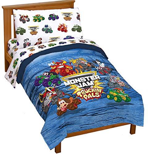 Monster Jam Truckin Palz 4 Piece Toddler Bed Set  Includes Comforter amp Sheet Set  Bedding Features Grave Digger amp Megalodon  Super Soft Fade Resistant Microfiber Official Monster Jam Product