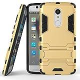 Tasche für ZTE Axon 7 Mini (5.2 zoll) Hülle, Ycloud das stärkste Handy Shock Proof Armor Dual Schutzabdeckung Hochfeste PC Kunststoffoberschale Shockproof mit Halterung Schutzabdeckung Gold