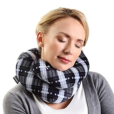 BCOZZY Chin Supporting Travel Neck Pillow - Supports The Head, Neck and Chin in in Any Sitting Position. A Patented Product. Adult Size, Black Plaid