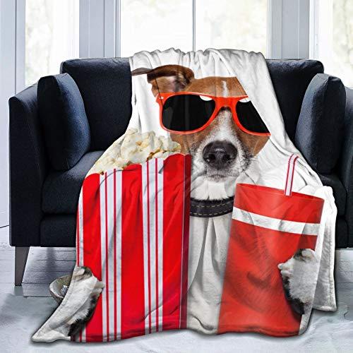 Perro viendo películas animales vida silvestre divertido deportes recreación franela manta de tiro de lana 50 x 60 pulgadas sala de estar / dormitorio / sofá sofá cálida y suave manta de cama para niñ