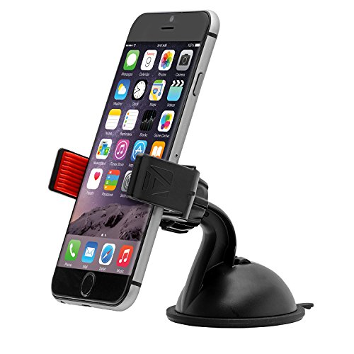 "Aduro U-Grip Plus Windshield Car Mount - Universal for iPhone / Galaxy and all Smartphones & Multimedia devices up to 5.5"" Screen (Red/Black)"