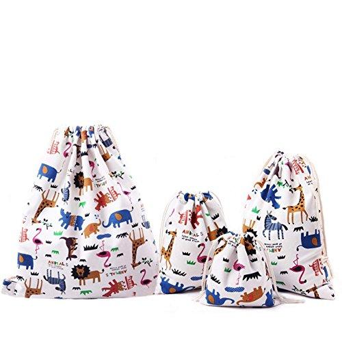 Abaría - Bolsas de tela 4 piezas, mochila de cuerda + 3...