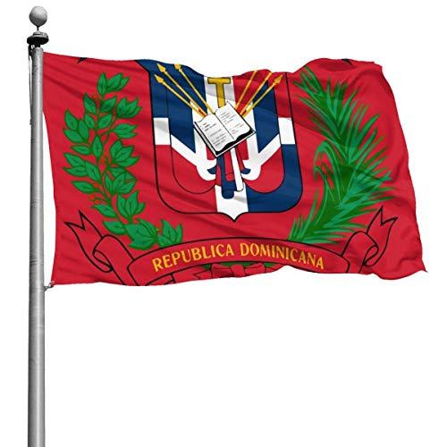 N/A Bandera de la Guardia de los Estados Unidos, bandera del hogar, escudo de armas, bandera de la República Dominicana, más gruesa, uso interior, patio para decoración de fiestas de patio, 4 x 6 pies