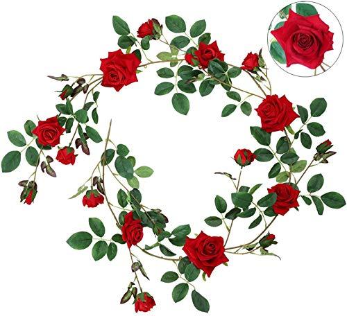 Hawesome Blumengirlande Rosengirlande Künstliche Flanellrosen 19 Rosenknöpfe Romantische Dekoration Hochzeit Party Wohnnzimm Fenster Deko echt Aussehen in weiß rosa rot
