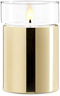 Gold Flameless Candle with Realistic Flame - Poured Wax, Removable Glass Top, Warm White LED, Timer, Remote Ready, Batteri...