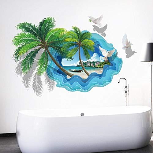 UYEDSR Wandsticker Coconut Palm Tree Wandaufkleber für Badezimmer Schlafzimmer 3D View Home Decor Beach Scenery Art Wallpapers