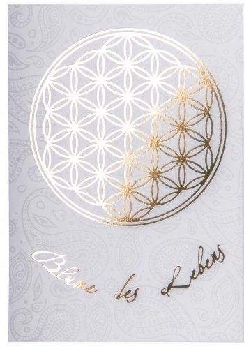 Blume des Lebens Postkarte Gold/Weiß DINA6