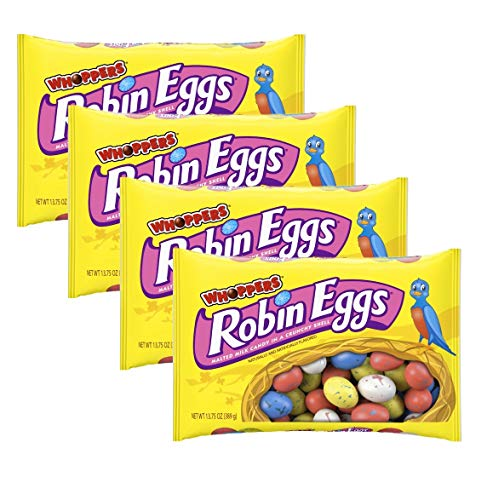 Whoppers Robin Eggs Chocolate Malted Milk Easter Candy - Pack of 4 Bags - 13.75 oz Per Bag - 55 oz Total of Bulk Whoppers Eggs