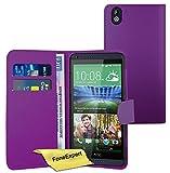 FoneExpert® Wallet Hülle Flip Cover Hüllen Etui Ledertasche Lederhülle Premium Schutzhülle für HTC Desire 816 + Bildschirmschutzfolie (Lila)