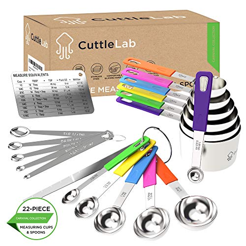 CuttleLab 22-Piece Stainless Steel Measuring Cups and Spoons Set, Tad Dash Pinch Smidgen Drop Mini Measuring Spoons, Measuring Stick Leveler, Measurement Conversion Chart Fridge Magnet, Carnival Color