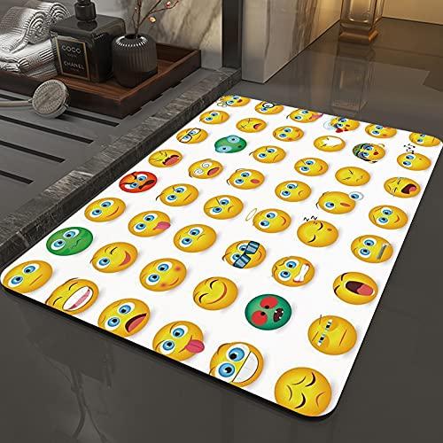 Rutschfeste Badteppiche 50 x 80 cm,Emoji, Cartoon wie Smiley Gesichter der ,Maschinenwaschbare Badematte, Badvorleger mit Wasserabsorbierenden, Weichen Mikrofasern für Badewanne, Dusche und Badezimmer