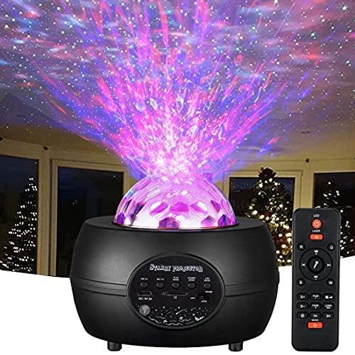 Sternenhimmel Projektor Nachtlicht Sternenhimmel 15-Farben Ozeanwellen Star Projector mit Bluetooth-Lautsprecher Sternenlicht Projektor Starry Projector Light Led Deko für Baby Kinder Erwachsene