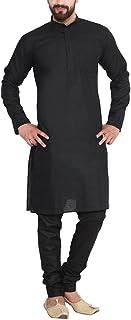 CRAFTSTRIBE Men'S Black Cotton Linen Kurta Pyjama