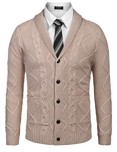 COOFANDY Men's Casual Knitted Merino Wool Aran Sweater Shawl Collar Button Down Cardigan Sweater,Light Khaki,Large