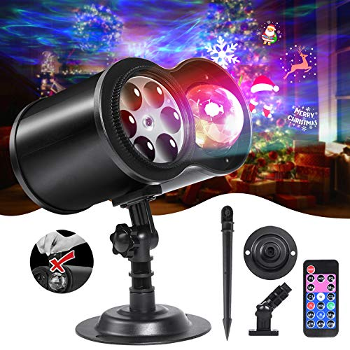 LOFTEK Christmas Projector Lights with Remote RF, Upgraded 2-in-1 Ocean Wave & Holiday Patterns LED Lights Projector, Built-in 9 Films(No Manual Replace) Waterproof Outdoor Indoor Decor with Timing
