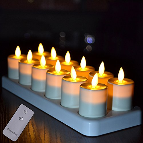 Rechargeable Flickering LED Tea Lights Flameless Votive Candles with Moving Wick and Remote Timer for for Home Office Restaurant Tables Decor,Ivory - Set of 12