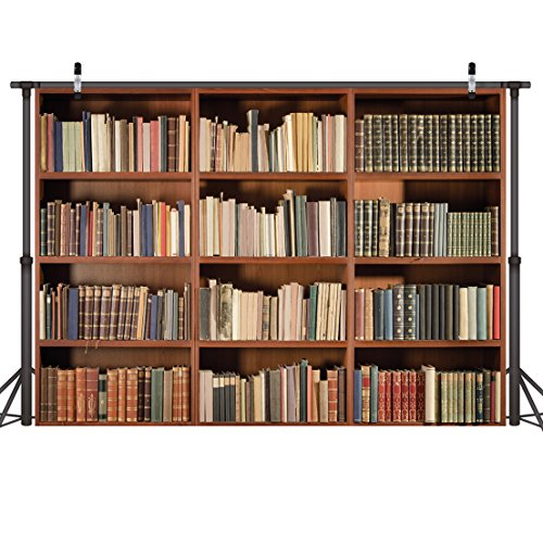 LYWYGG 7X5FT Bookshelf Backdrop Vintage Bookcase Magic Books Grunge Ancient Library Vinyl Photography Background Photo Studio Props CP-49