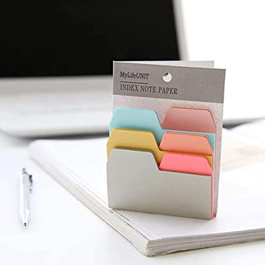 Years Calm Divider Sticky Notes 90 Ruled Notes with 6 Color and Size, 4 Pack Index Self Stick Notes Take Notes for Home Offic