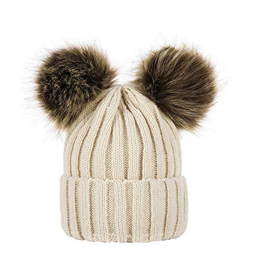 Miss Fortan - Vêtement Bonnet bébé 0-5 Ans d'hiver Beanie Bonnet Fille Chapeaux Enfants avec 2 Grand Double Pompom Faux Fourrure (Nombre Couleur aux Choix)