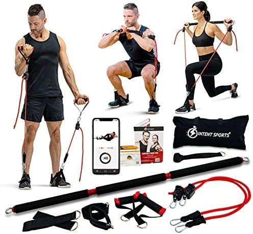 INTENT SPORTS Portable Home Gym Dynamic Total Body Workout Package with Resistance Bands Collapsible product image