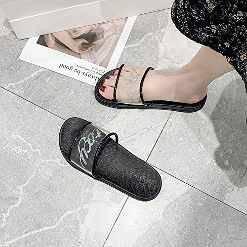 Interiores Antideslizantes Baño Sandalia,Use Pantuflas de Moda afuera en Verano, Chanclas para el hogar-Negro 2_36-37,Zapatillas Pantuflas de Playa de Hombre