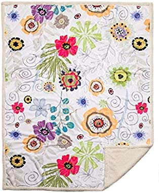 "North End Decor Large Extra Plush Sherpa 68x54, Wildflowers Throw Blankets, 54""x68"", Multi-Color"
