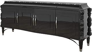 Casa Padrino aparador Art Decó Negro/Plata 220 x 50 x A. 90 cm - Gabinete de salón Noble con 4 Puertas y encimera de mármo...