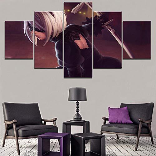 13Tdfc Murale Quadro Poltrone Salotto Cucina Mobili Ufficio Casa Decorazione XXL Regalo Creativo Nier Automata Game Stampa su Tela 5 Pezzi per Decorazione da Parete 150X80Cm