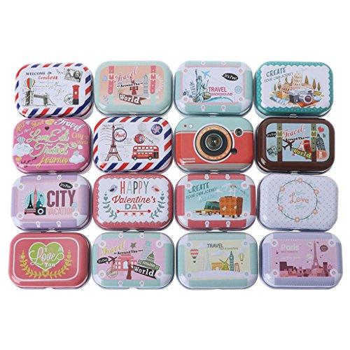Wuweiwei12 - Caja de metal rectangular para joyas, diseño con tapa con bisagras, caja de lata portátil para joyas, monedas, llaves (1 pieza, estilo aleatorio)
