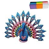 Papel para moldear con forma de triángulo de origami en 3D, materiales opcionales, papel de colores/componentes triangulares básicos con tutorial ilustrado (pavo real azul, papel de colores)
