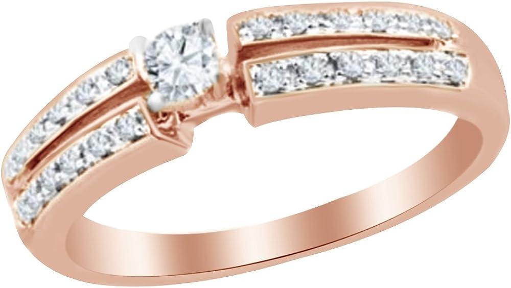 AFFY White Natural Diamond Split Shank Promise Ring in 10k Solid Gold (0.25 Cttw)