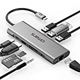 Omars 9-in-1 USB C Hub Adapter mit 4K HDMI, RJ45 Gigabit Ethernet LAN Port, 3 x USB 3.0, Type C Power Delivery, SD/TF Slot, 3.5 mm AUX Audio/Mikrofon für Laptop MacBook Pro Huawei USB-C Geräte