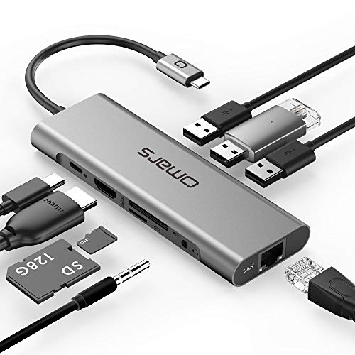 Omars Hub USB C 9 in 1 Adattatore USB Tipo C con HDMI 4K, RJ45 Gigabit Ethernet, Porta di Ricarica PD, Lettore SD / Micro SD, 3 x USB 3.0, 3.5mm Jack per iPad Pro, Macbook Pro 2020, XPS etc.