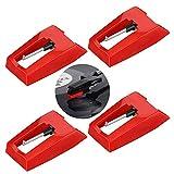 Agujas de Recambio para Tocadiscos,4 Pack Agujas de Repuesto para Tocadiscos Diamond Stylus Agujas de Repuesto para Stylus Universales Agujas de Placa Giratoria de Repuesto para Tocadiscos de Vinilo