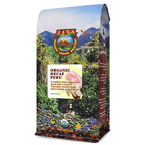Java Planet, Organic Coffee Beans, Decaf Peru Single Origin, Gourmet Medium Dark Roast of Arabica Whole Bean Coffee, Water Processed Decaffeinated, Certified Organic, 1LB Bag