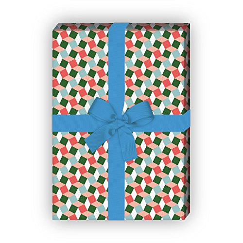 Kartenkaufrausch cadeaupapierset met klein patroon in escher trappen look, groen, voor leuke cadeauverpakking, designpapier, scrapbooking, 4 vellen, 32 x 48 cm