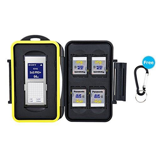 JJC Speicherkarten Tasche Wasserdicht Schutzhülle für 4 SDHC/SDXC/SDKarten, 1 SXS Karten mit Karabiner